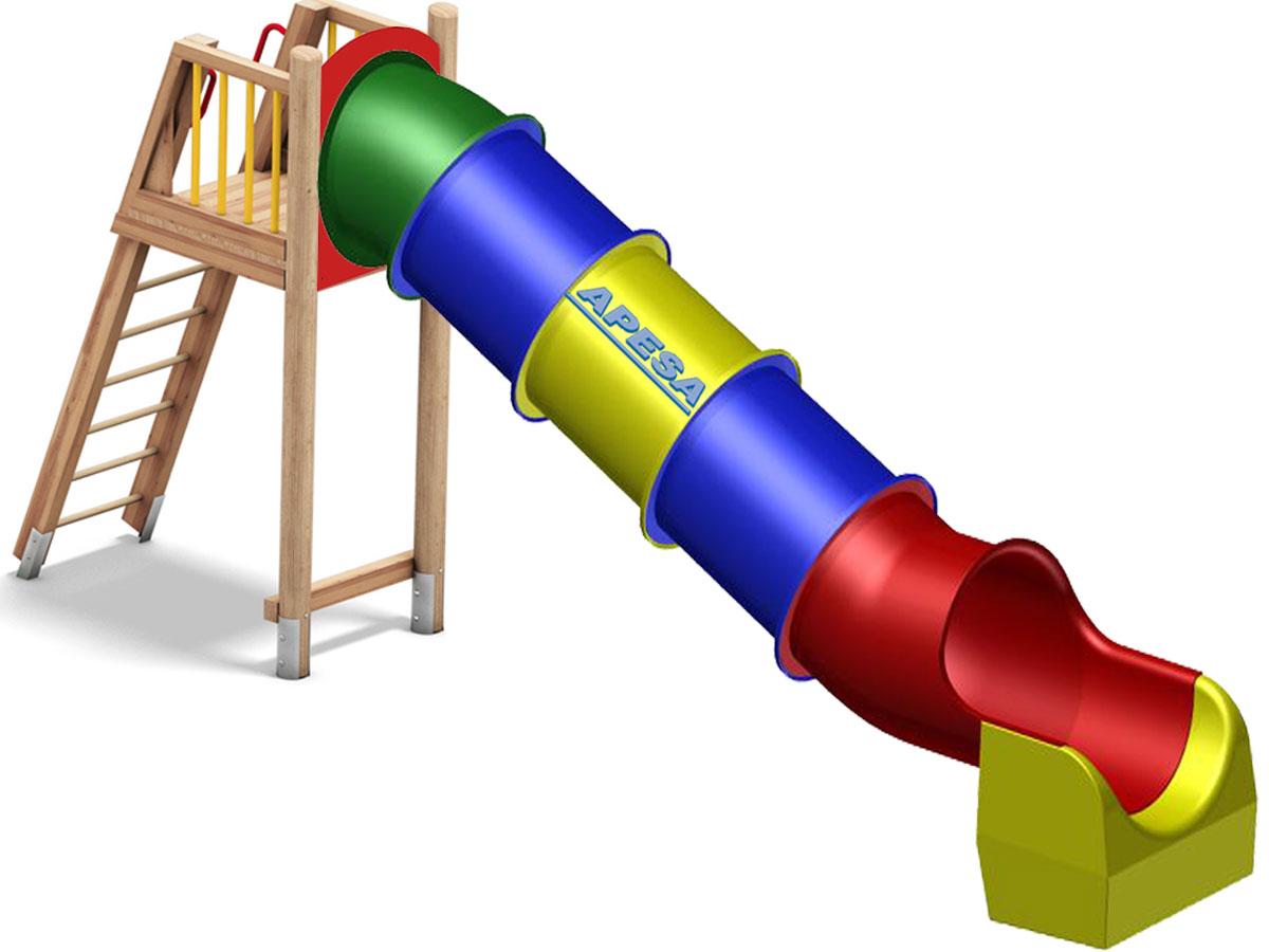 Podest mit Treppe und Tunnelrutschbahn