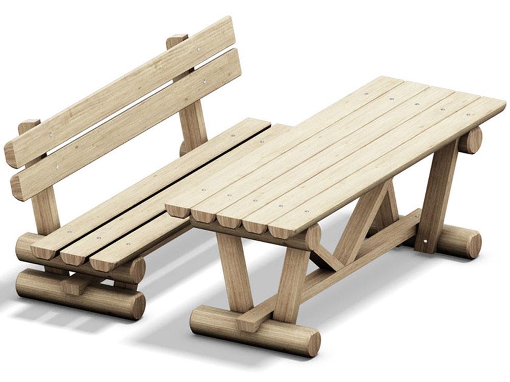 Tische und Bänke für den Spielplatz Ein guter Tisch mit Bank zum Ausruhen